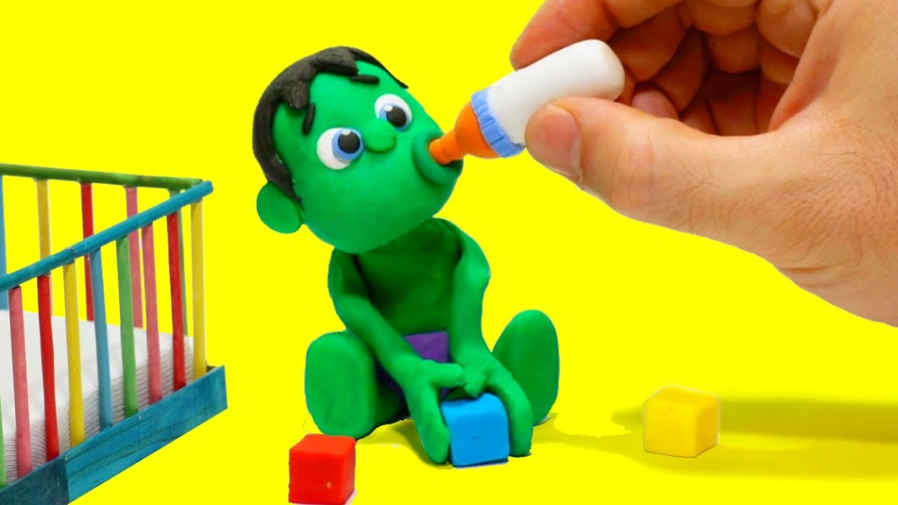 Photo of Baby Hulk needs Teddy bear Stop Motion Play Doh Cartoon for children
