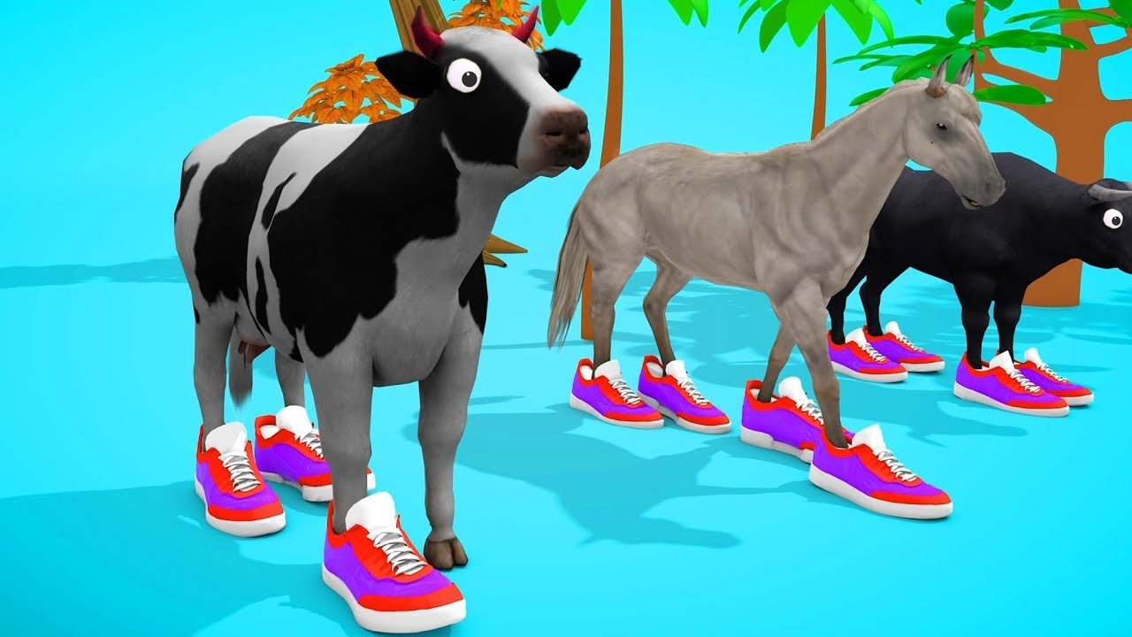 Photo of Wrong colors sport shoes with cow videos for children – Little Baby learning animals cows, horse