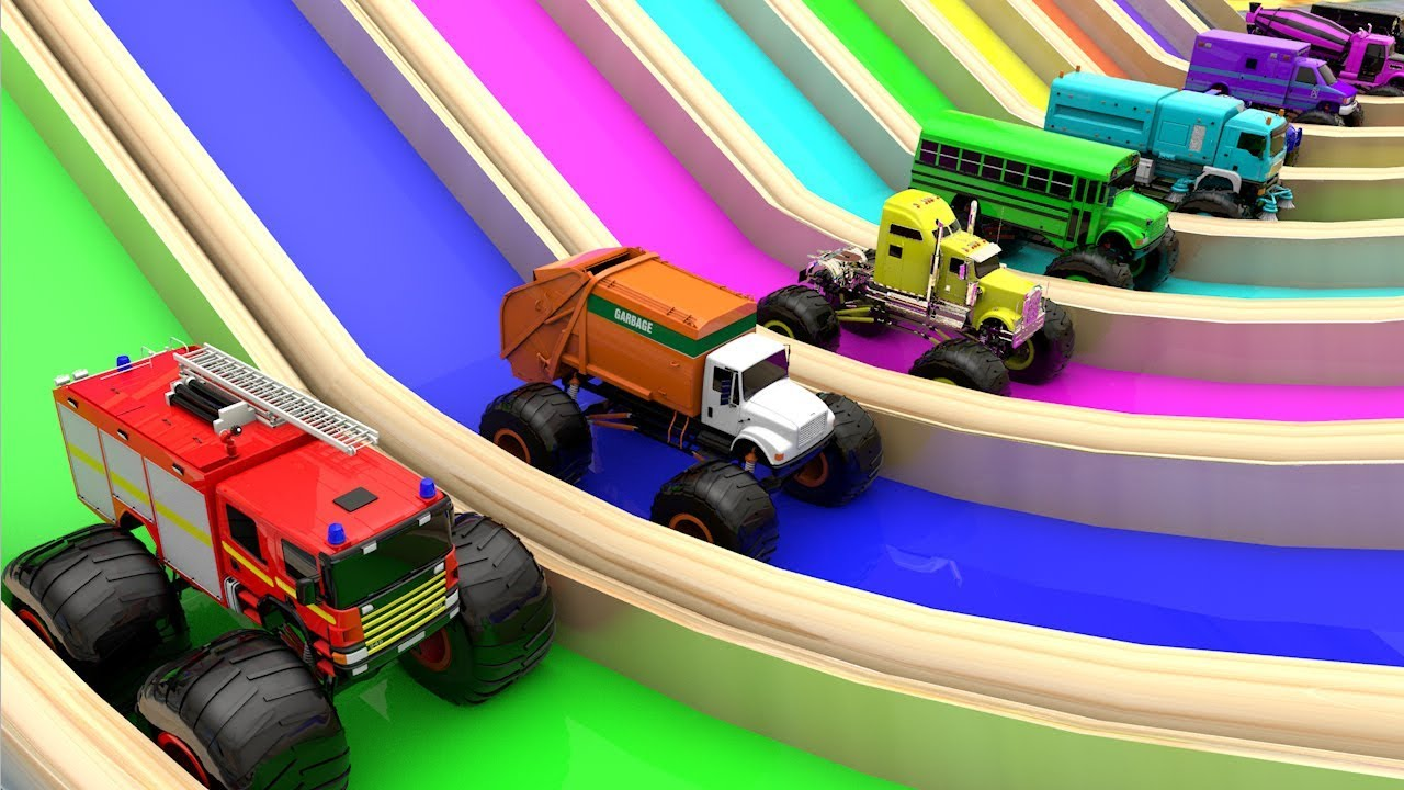 Photo of Monster Street Vehicles Color Changing Water Sliders Tracks for Kids to Learn Colors for Children