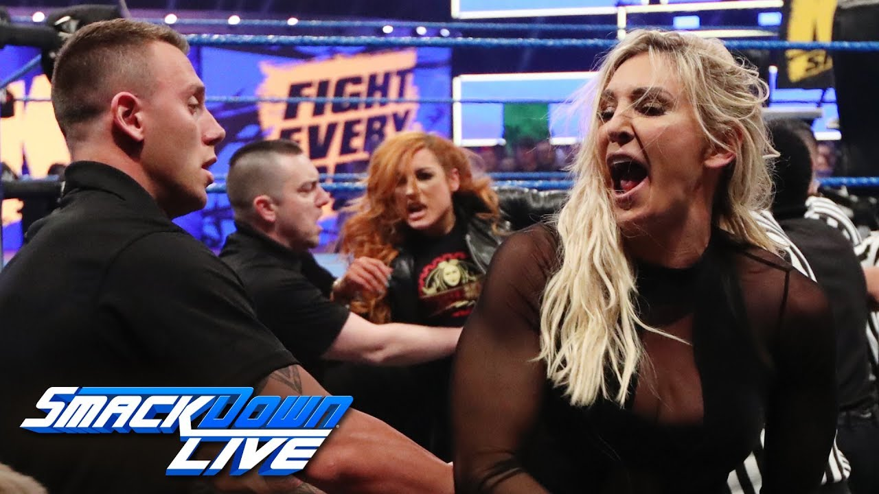 "Photo of Becky Lynch and Charlotte Flair brawl on ""The Kevin Owens Show"": SmackDown LIVE, March 19, 2019"