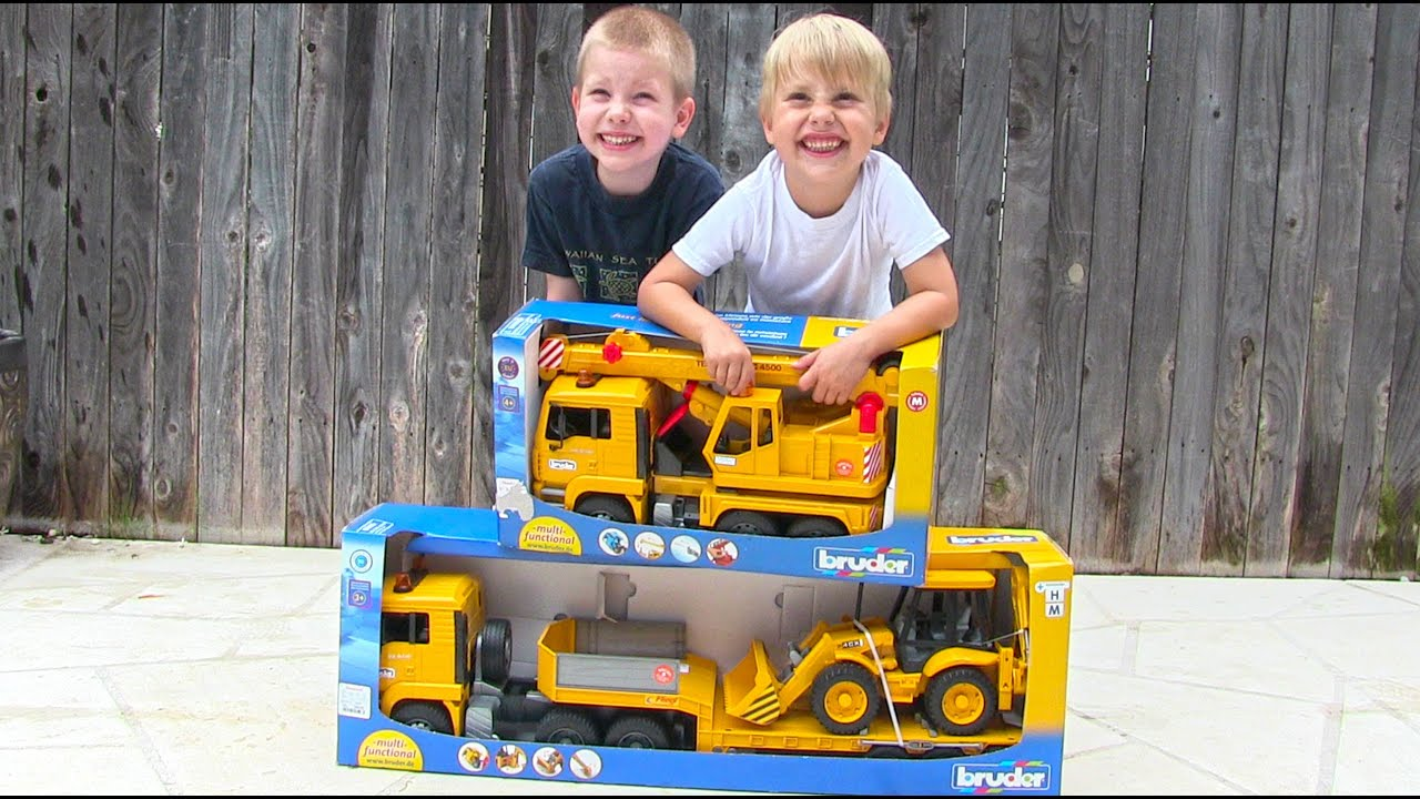 Toy Truck Videos for Children – Toy Bruder Backhoe Excavator, Crane Truck and Tractor Trailer