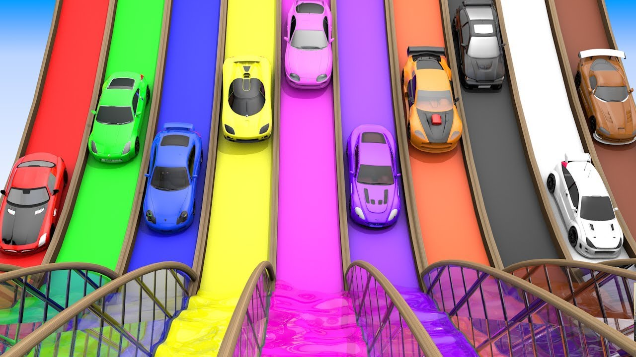 Photo of Toy Super Cars Color Changing with Color Water Sliders to Learn Colors for Children, Vehicle Parking