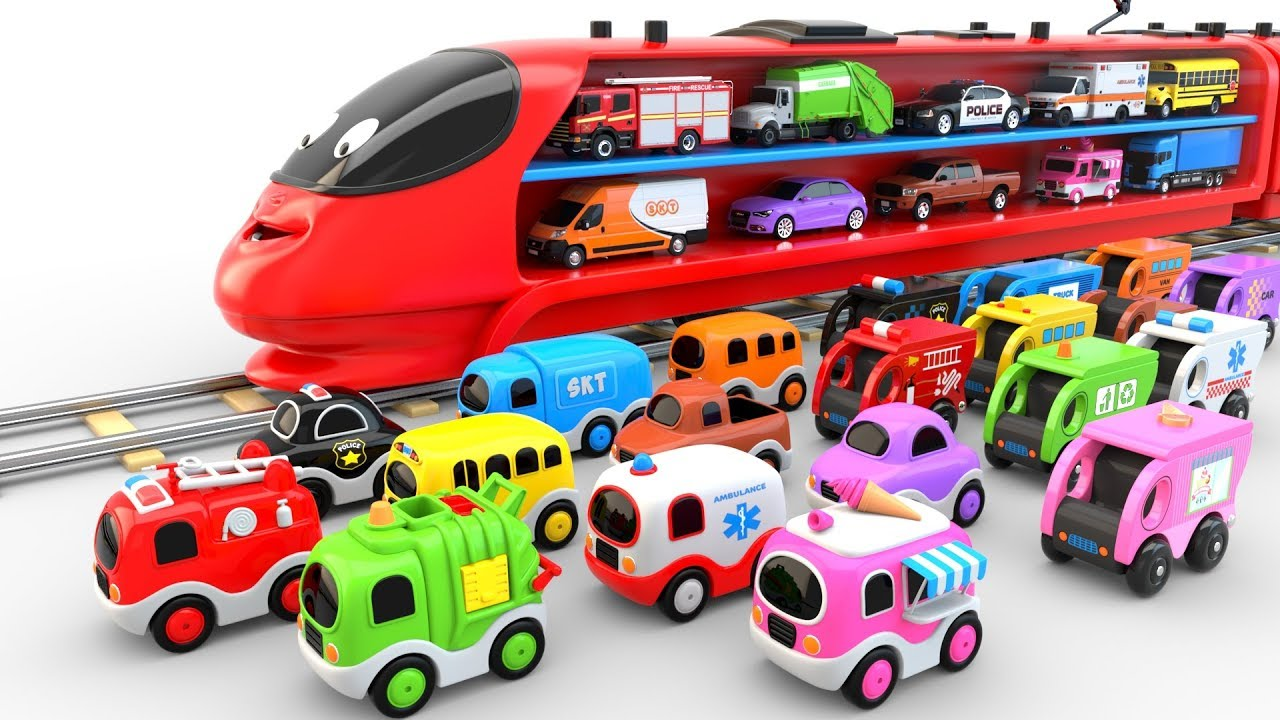 Photo of Colors for Children to Learn with Train Transporter Toy Street Vehicles – Educational Videos