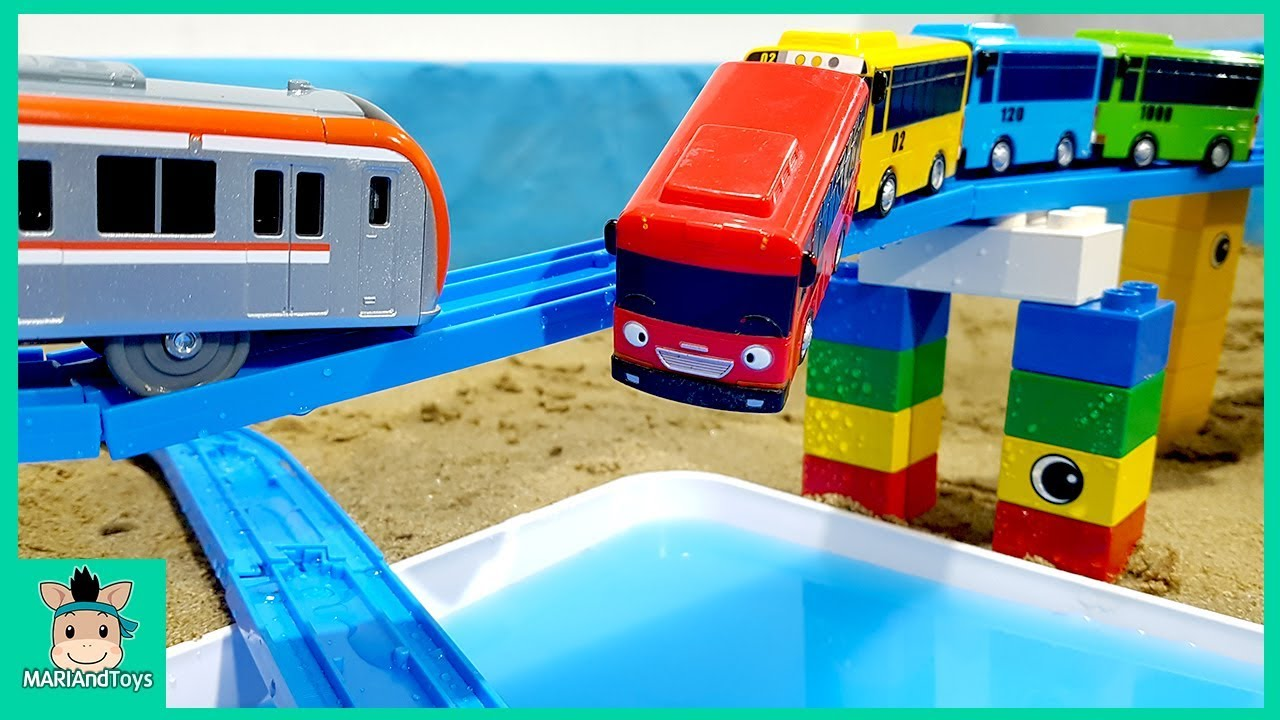 Photo of Cars toy videos for Children. Tayo Bus on Bridge, Train Rail on Sand. Songs for Kids | MariAndToys