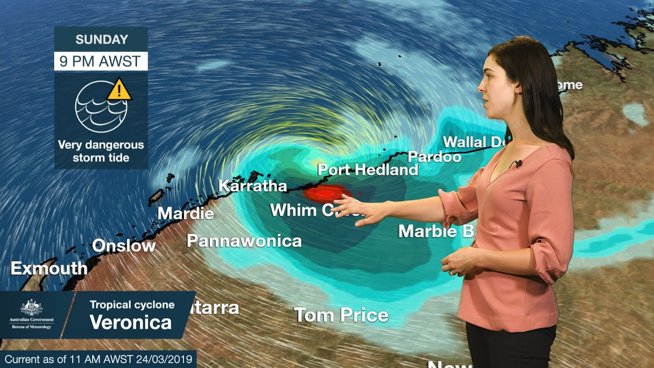 Photo of Weather Update: severe tropical cyclone Veronica, Sunday 24 March 2019