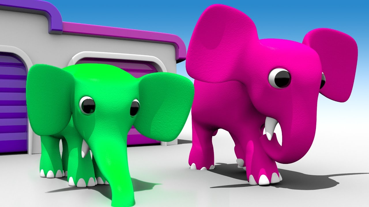Photo of Cartoons Elephants Garage to Learn Colors for Children – 3D Kids Learning Videos