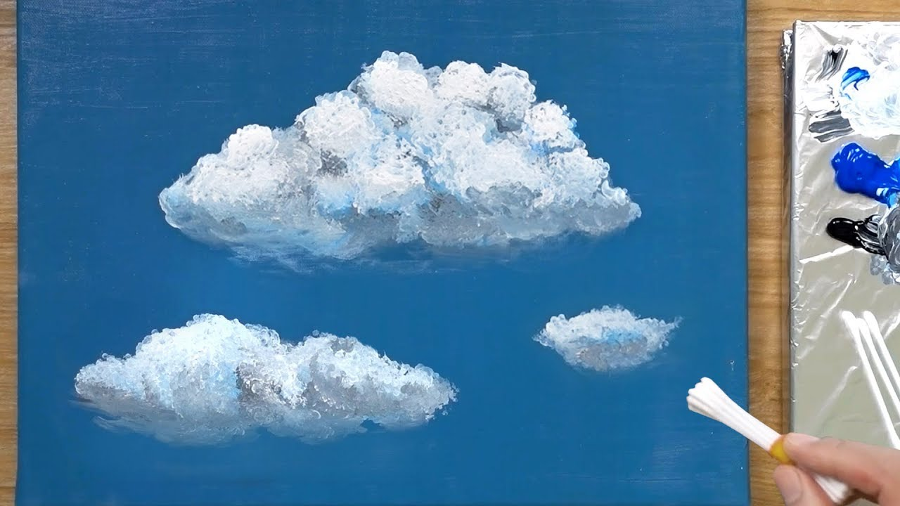 Photo of How to Paint Clouds using Q Tip and Acrylics