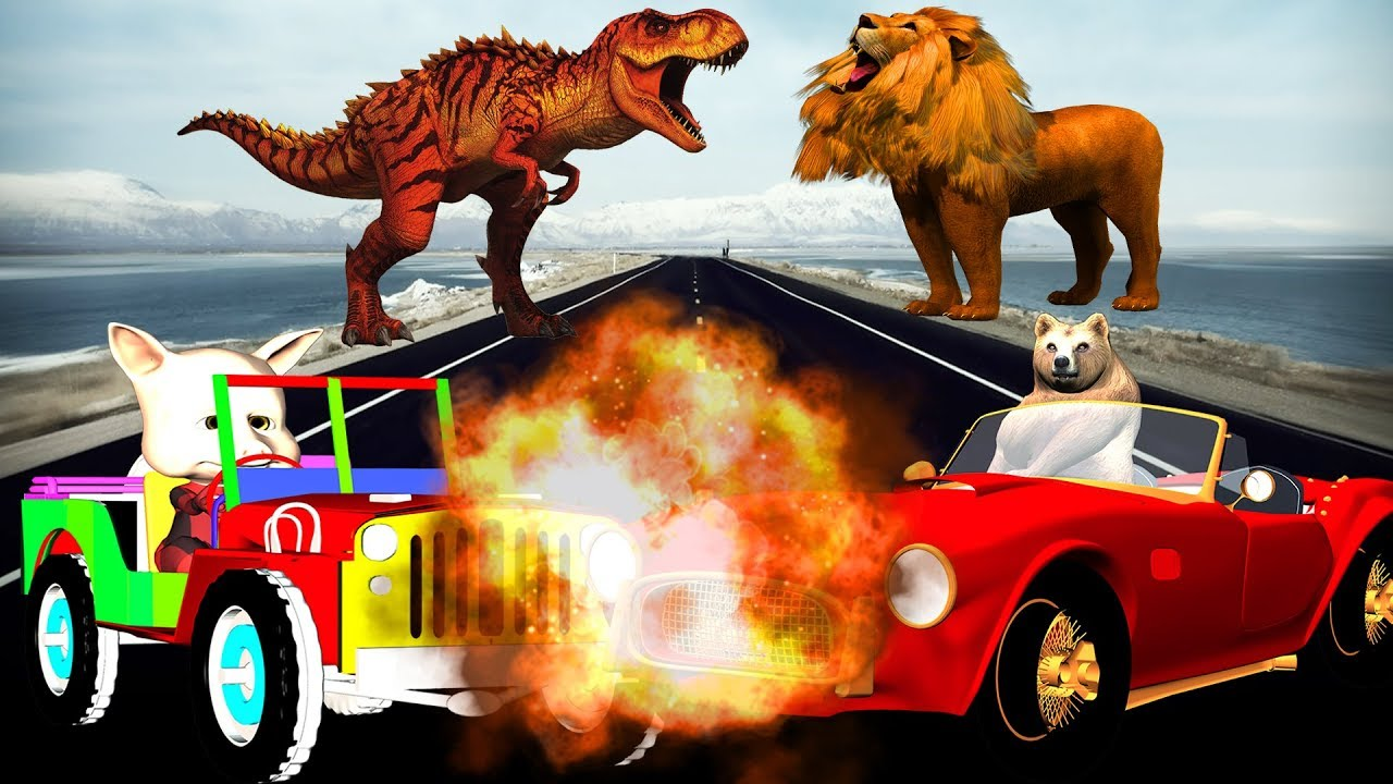 Photo of Animals Fight Videos For Children Kids Nursery Rhymes Learn Colors With Wild Animals Road Accident