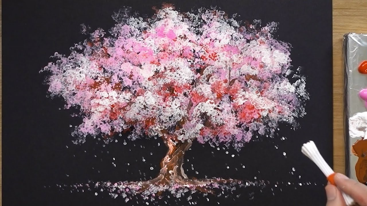 Photo of How to Paint a Cherry Tree in Acrylic – Sakura Q-tip Painting Techniques
