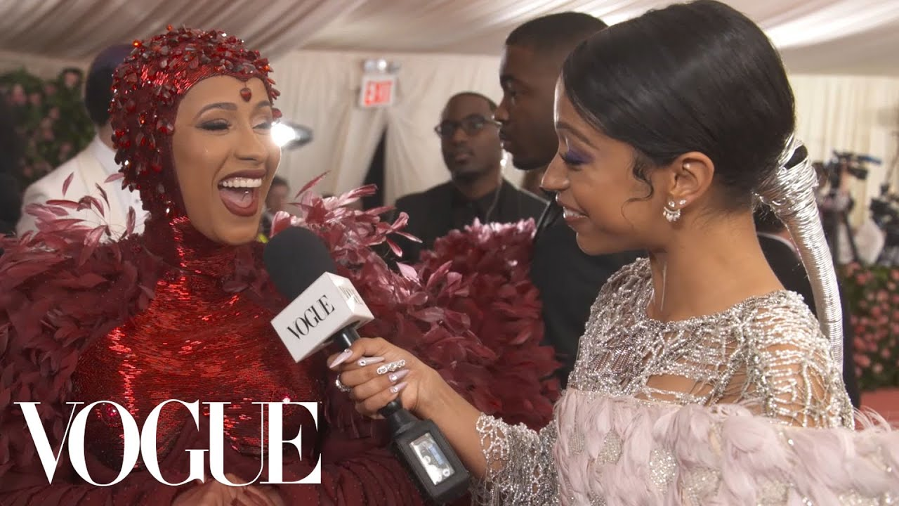 Photo of Cardi B on Her Ruby Nipples and Feminism-Inspired Dress | Met Gala 2019 With Liza Koshy | Vogue