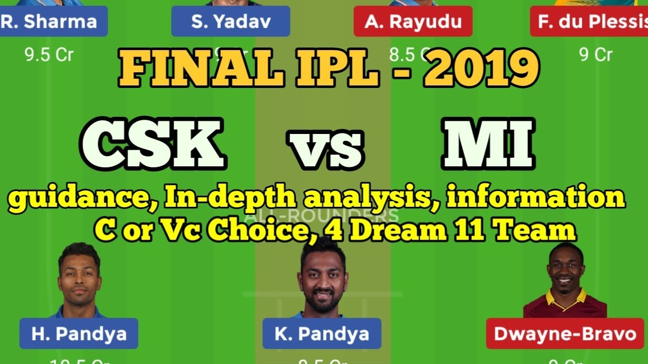 Photo of MI vs CSK Dream11 Prediction, CSK vs MI Final Match IPL 2019 Fantasy Cricket Team