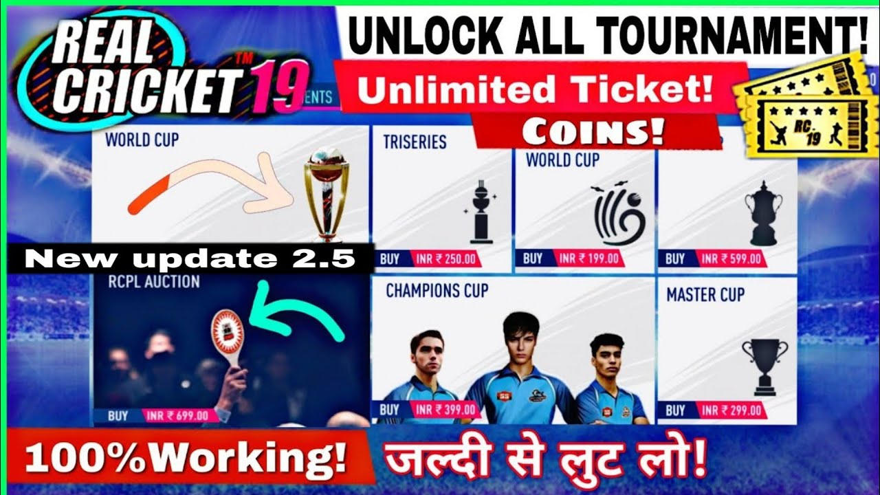 Photo of Real Cricket19 New update v2.5How to Unlock tournament World cup 2019 Tickets|coins|IPL auction Hack