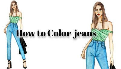 How to Color Jeans Using colored Pencils For beginners