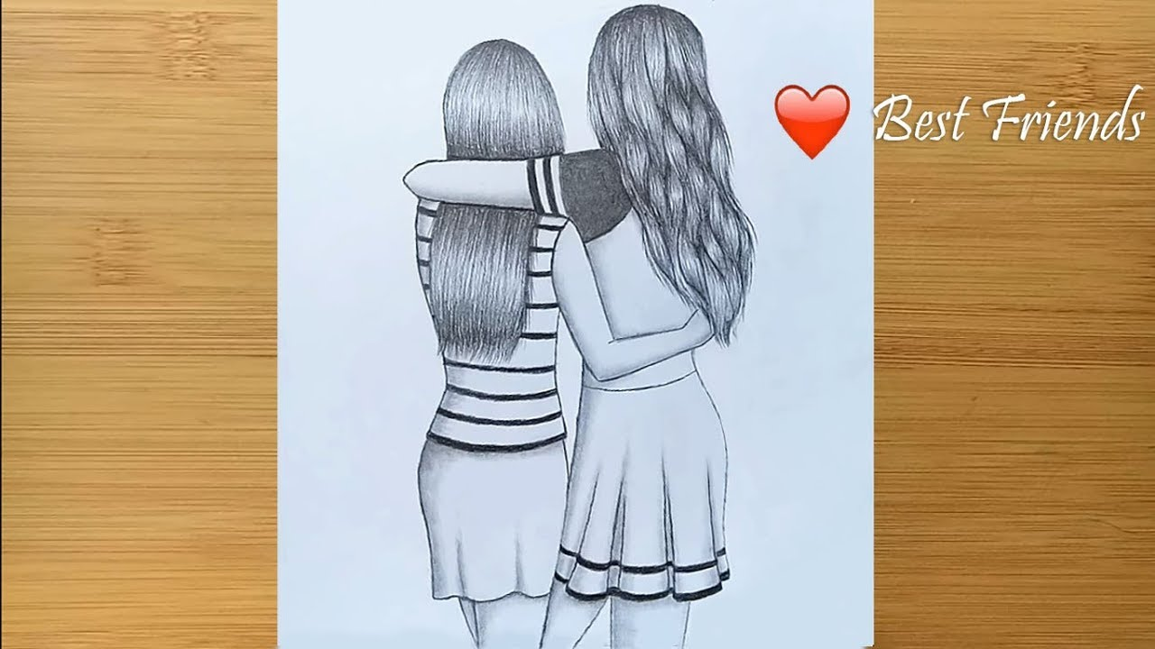 Photo of Best friends ❤  pencil Sketch Tutorial || How To Draw Two Friends Hugging Each other
