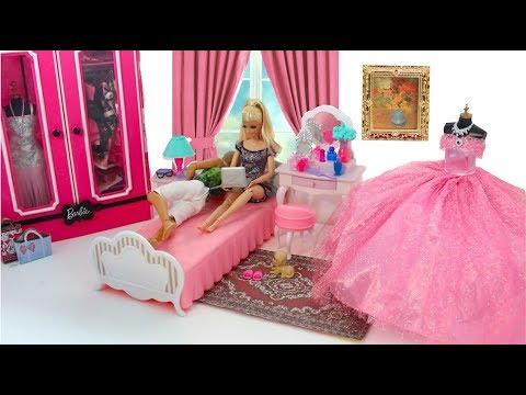 Photo of Barbie & Ken Bedroom Morning Routine New Jewelry Accessory Dress Up Beliche para Barbie Quarto