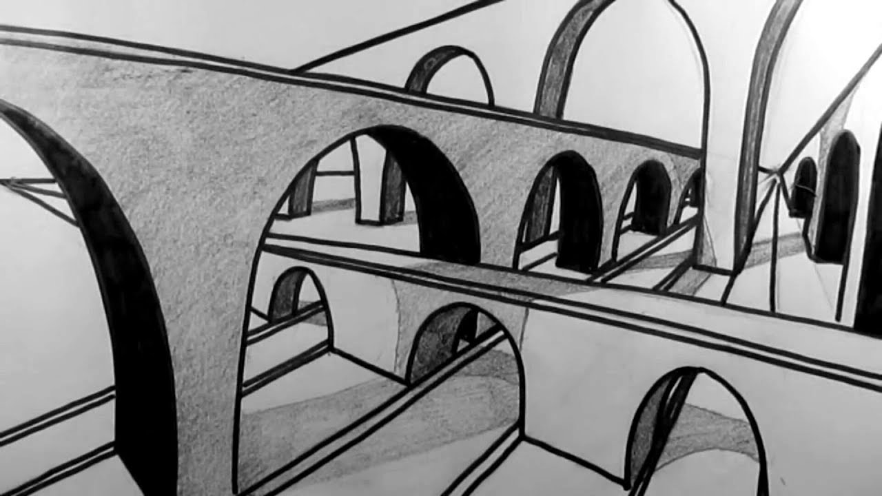 Photo of كيفية رسم جسر من خلال نقطتين /  How to Draw a Bridge in Two Point perspective