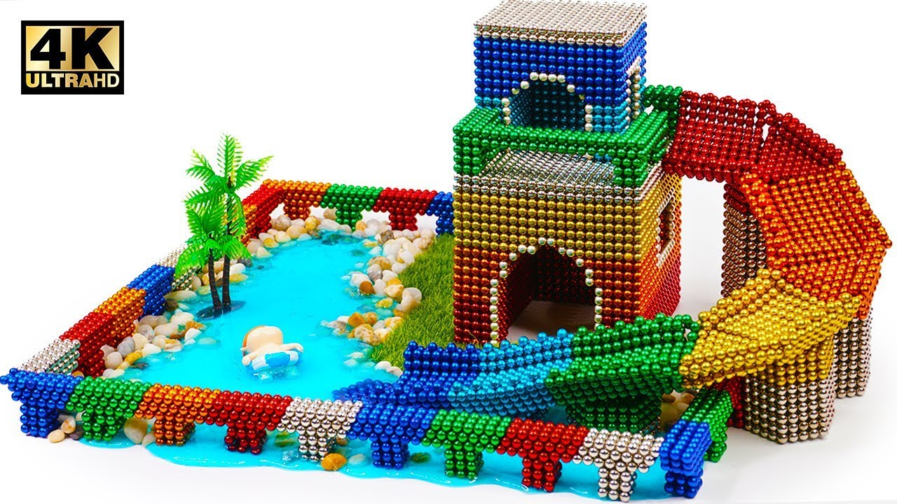 Photo of DIY How To Build Water Slide House Around Swimming Pool with Magnetic Balls (ASMR) | Magnet World 4K