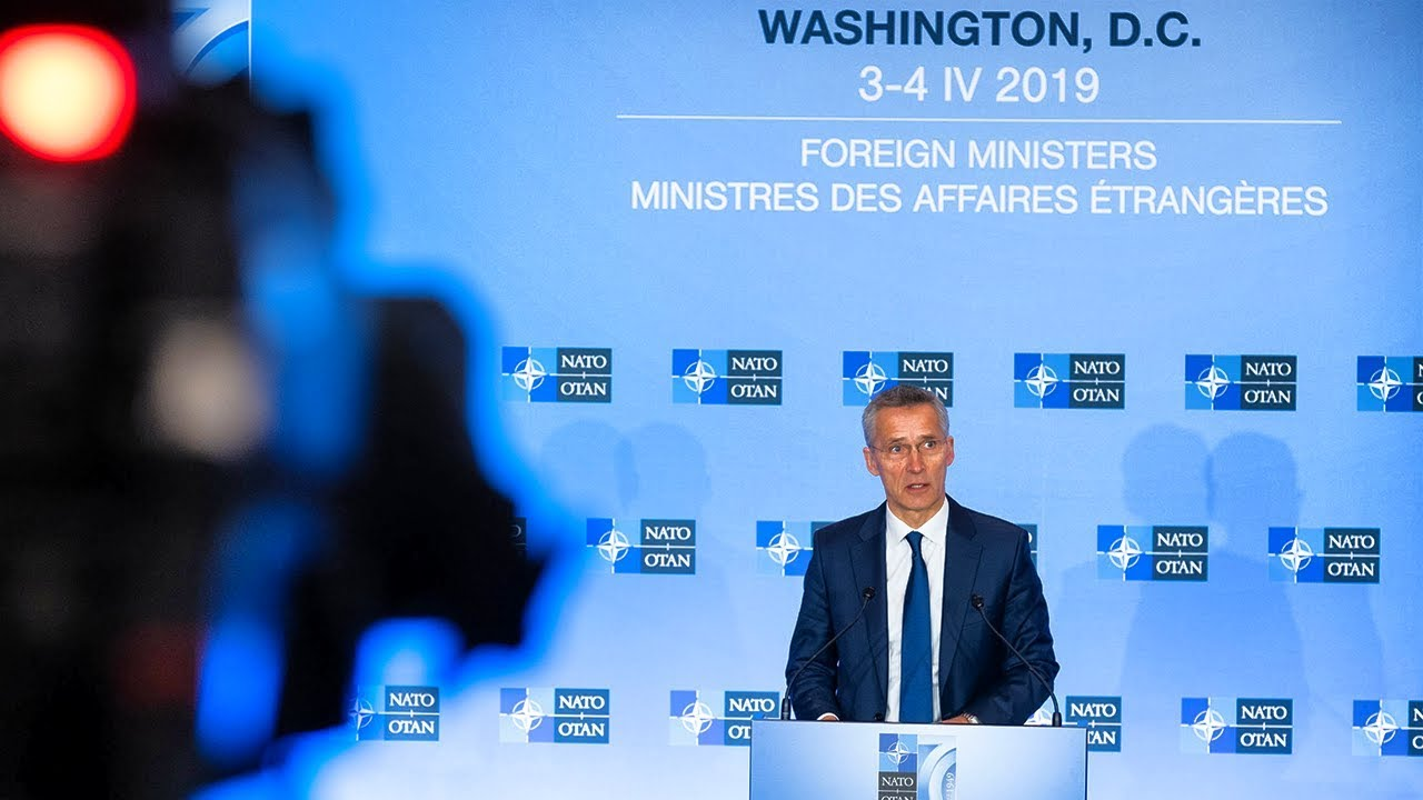 Photo of NATO Secretary General press conference at Foreign Ministers Meeting, 04 APR 2019