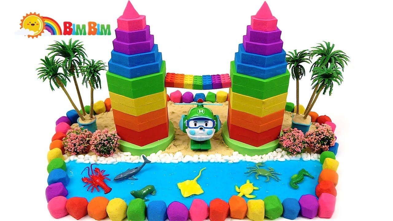 Photo of Making Rainbow Towers From Kinetic Sand And Slime – Learn Colors