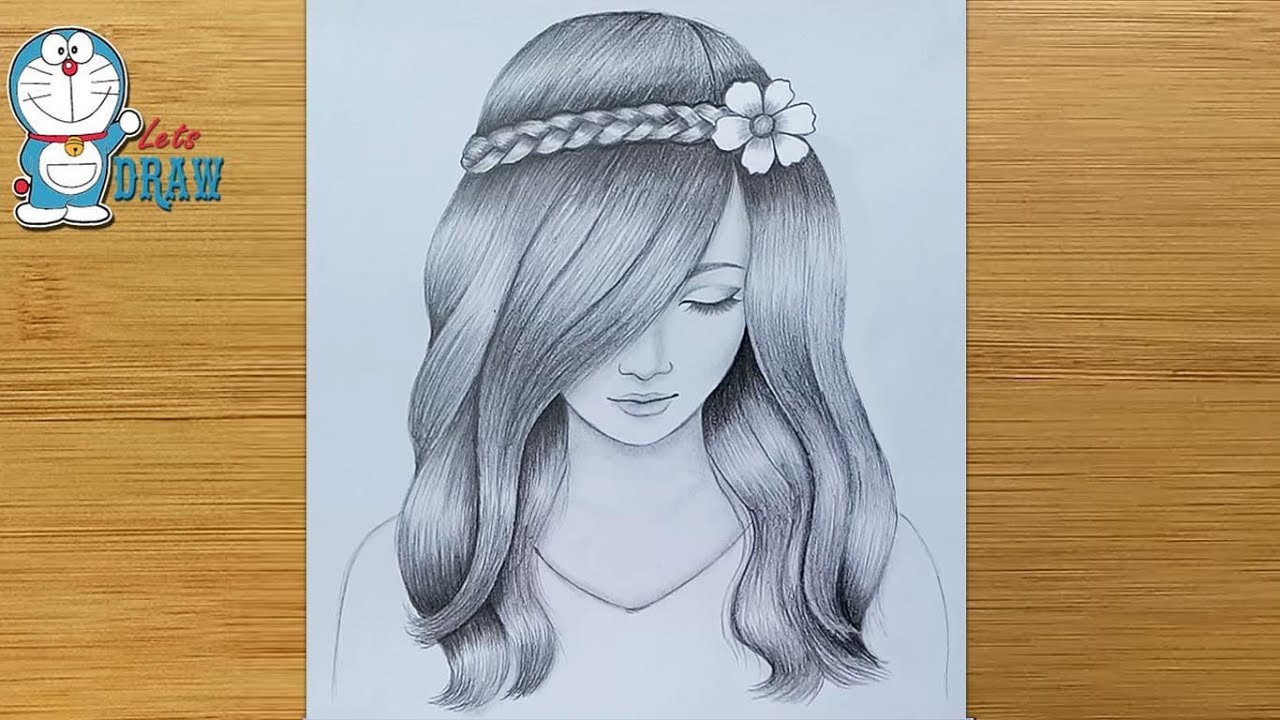 Photo of A girl with beautiful hair Pencil Sketch drawing / How to draw a girl