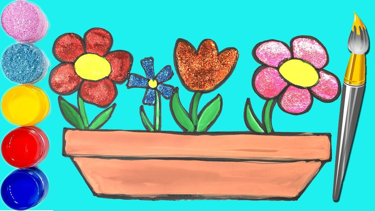 Glitter flower drawing and coloring, learn colors for kids – How to draw Flowers
