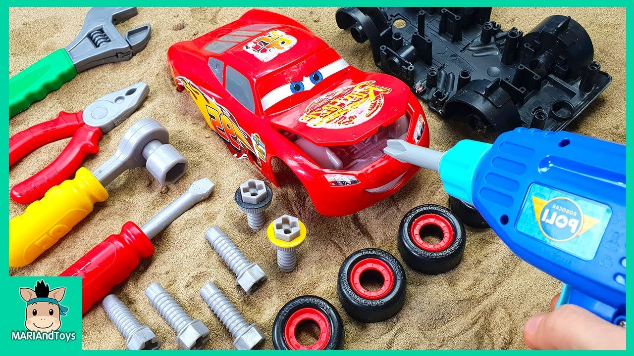 Photo of Assembling Lightning Mcqueen racing cars – children's toys kids videos | MariAndToys
