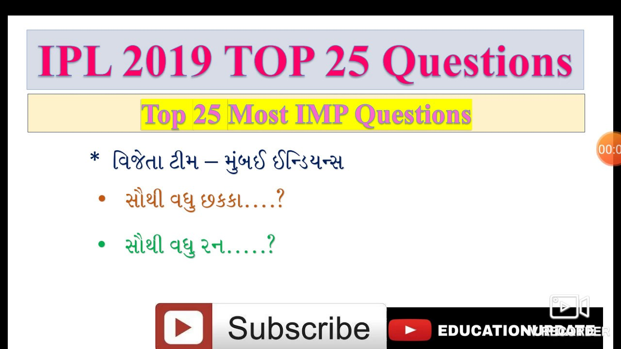 IPL 2019 Top 25 Questions || IPL 2019 Questions || Most IMP Questions for IPL 2019