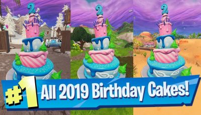 Dance in front of different Birthday Cakes ALL Locations 2019 – Fortnite 2nd Birthday Challenge