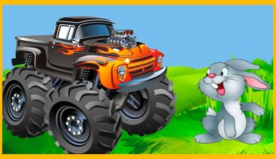 How to build Red & Blue monster trucks cartoon for kids