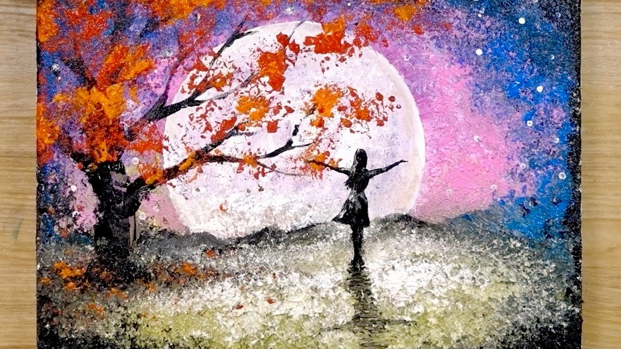 Photo of Aluminum painting techniques / How to draw a girl looking at the full moon