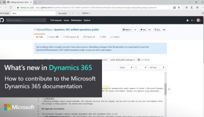 How to contribute to the Microsoft Dynamics 365 documentation
