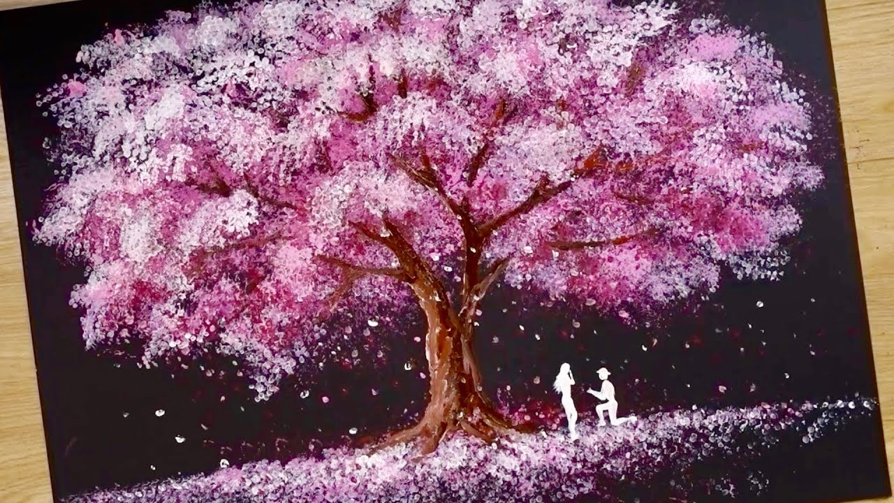 Photo of Bath Sponge & Q-tips painting technique / How to draw Romantic Couple beside tree