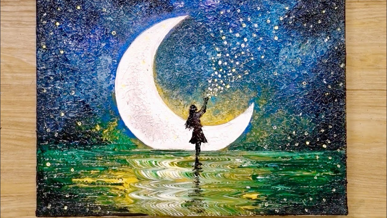 Photo of How to draw a moonlight girl with 1 million stars / Acrylic painting technique