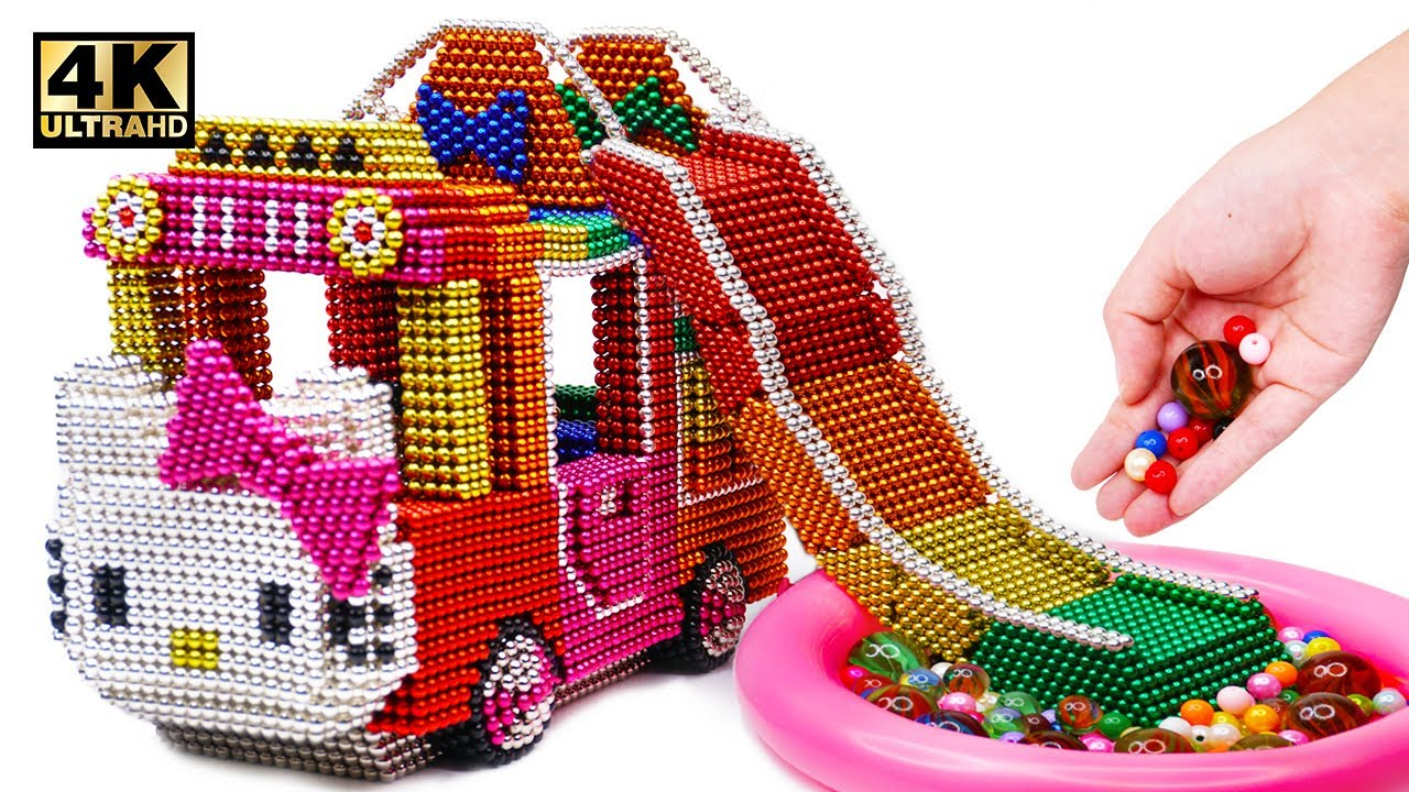 Photo of DIY How To Make Hello Kitty Bus With Inflatable Ball Pit Pool From Magnetic Balls | Magnet World 4K