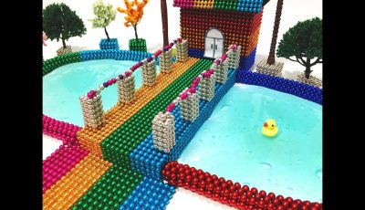 DIY – How To Make Rainbow House, Swimming Pool With Magnetic Balls And Slime   Magnetic Toy