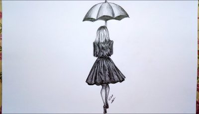 how to draw  girl with umbrella ||  pencil sketch and shading