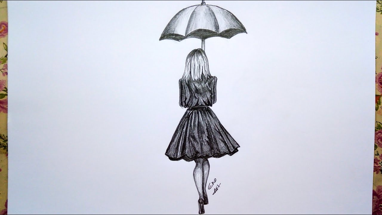 Photo of how to draw  girl with umbrella ||  pencil sketch and shading