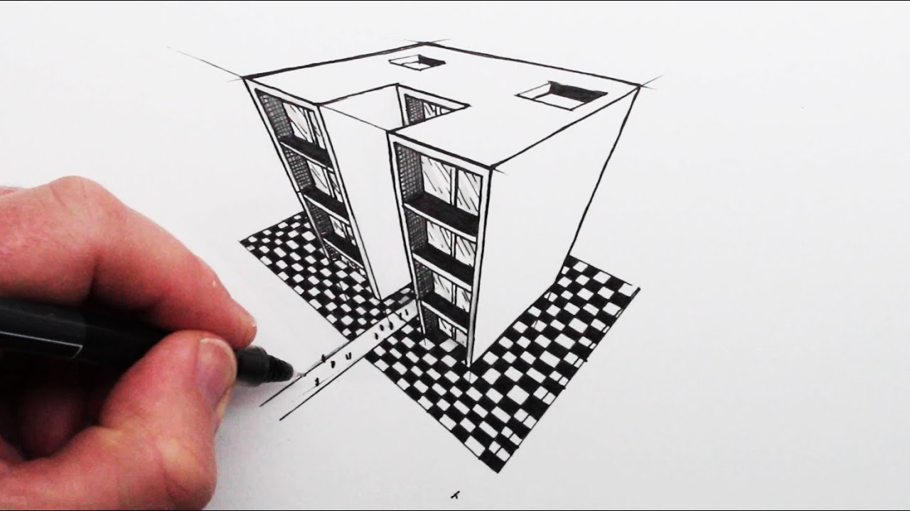 Photo of How to Draw using 3-Point Perspective: Simple Buildings