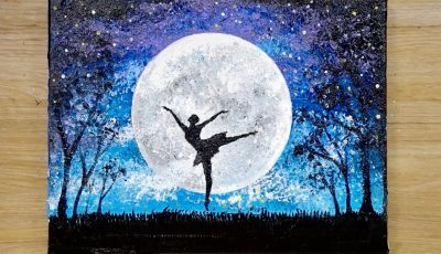 Aluminum painting technique / How to draw a dancing girl under moonlight