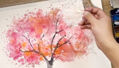 How to Paint Watercolors using Cooking Paper and Cling Film – Painting Techniques