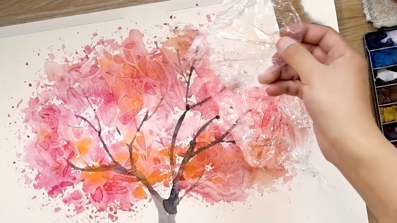 Photo of How to Paint Watercolors using Cooking Paper and Cling Film – Painting Techniques
