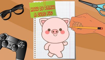 How to draw a cute Pig. Cartoon for kids.