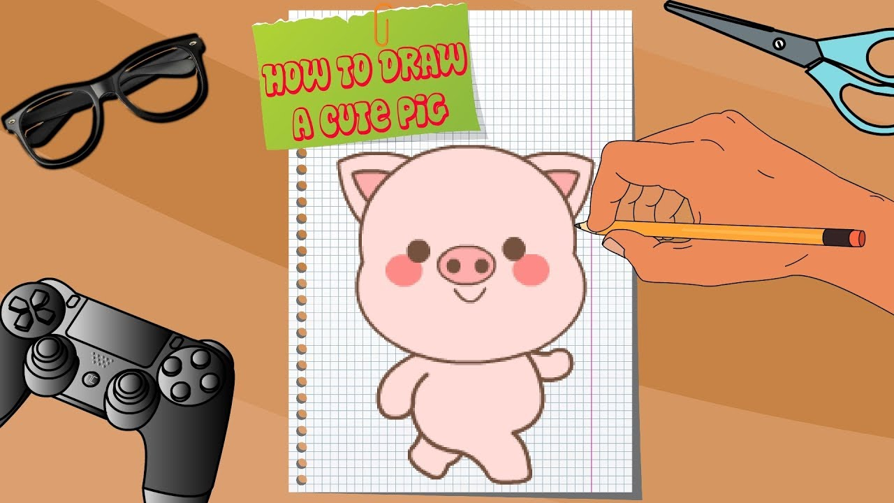 Photo of How to draw a cute Pig. Cartoon for kids.