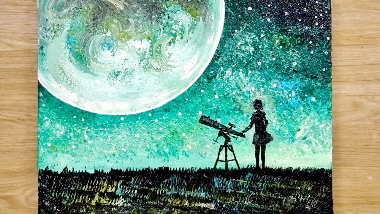 Photo of Easy painting technique using comb / How to draw a moonlight girl looking at earth