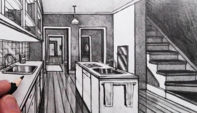 How to Draw a Kitchen Room in 1-Point Perspective